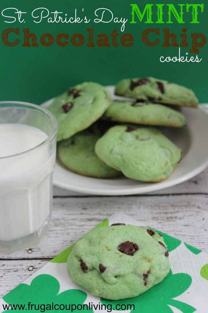 Chocolate Chip Cookies Recipe. St. Patrick's Day Mint Chocolate Chip Cookies Recipe and more Kids St Patricks Day Recipes. Kids Food Craft on Frugal Coupon Living. Mint Cookies. #stpatricksday #stpattysday #recipe #cookies #green #greenfood #mint