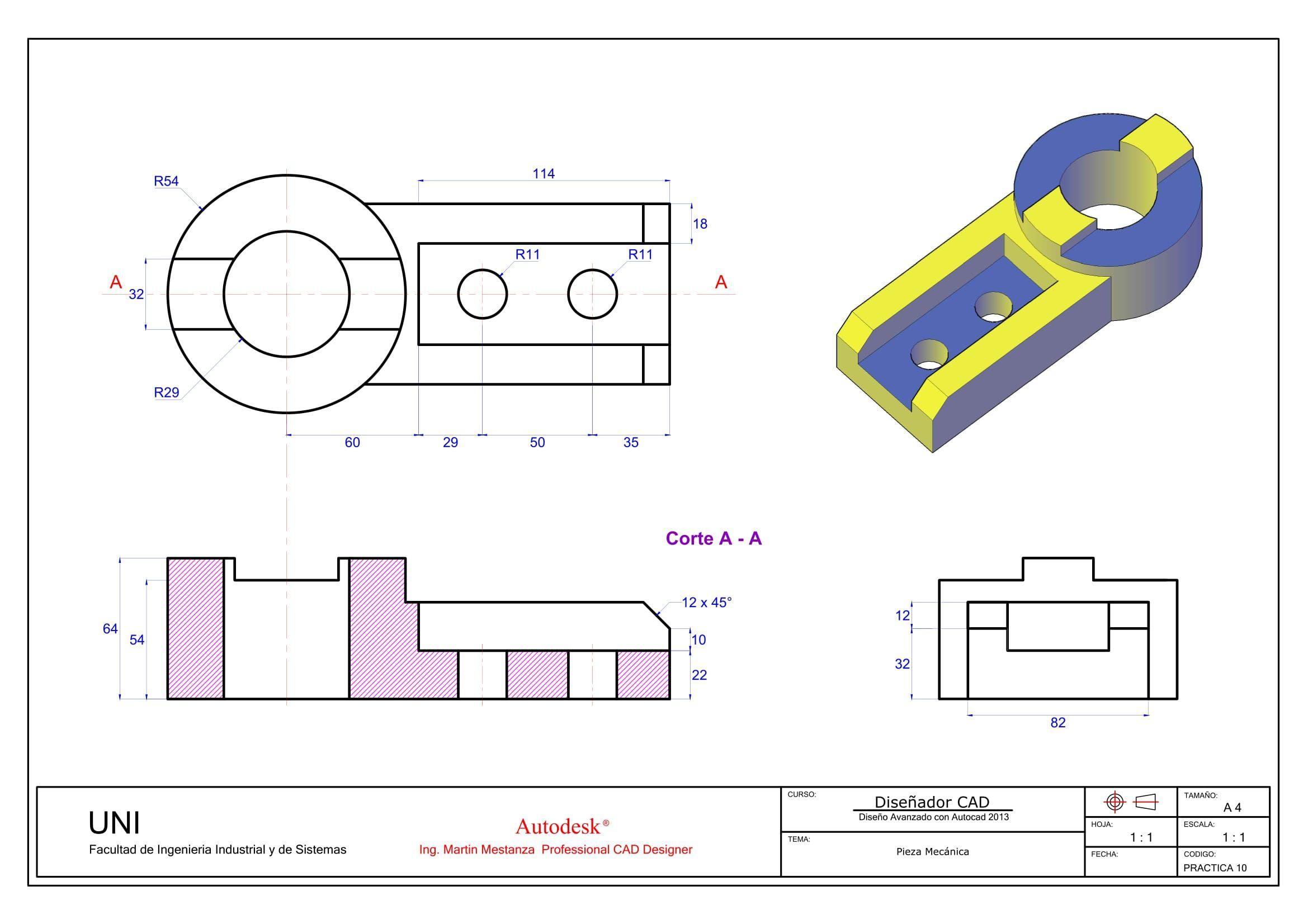Practica De Clase N 10 Clase De Impresion En A4 Norma Iso A Norma Iso E Para El 11 De Octubre Impresion Solidworks Tutorial Autocad Technical Drawing