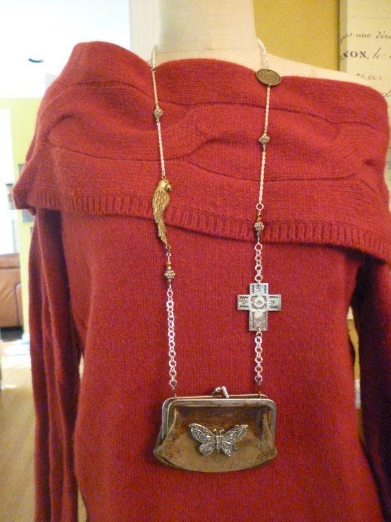 Vintage Leather Coin Purse Necklace by VintageMirageJewelry, $85.00
