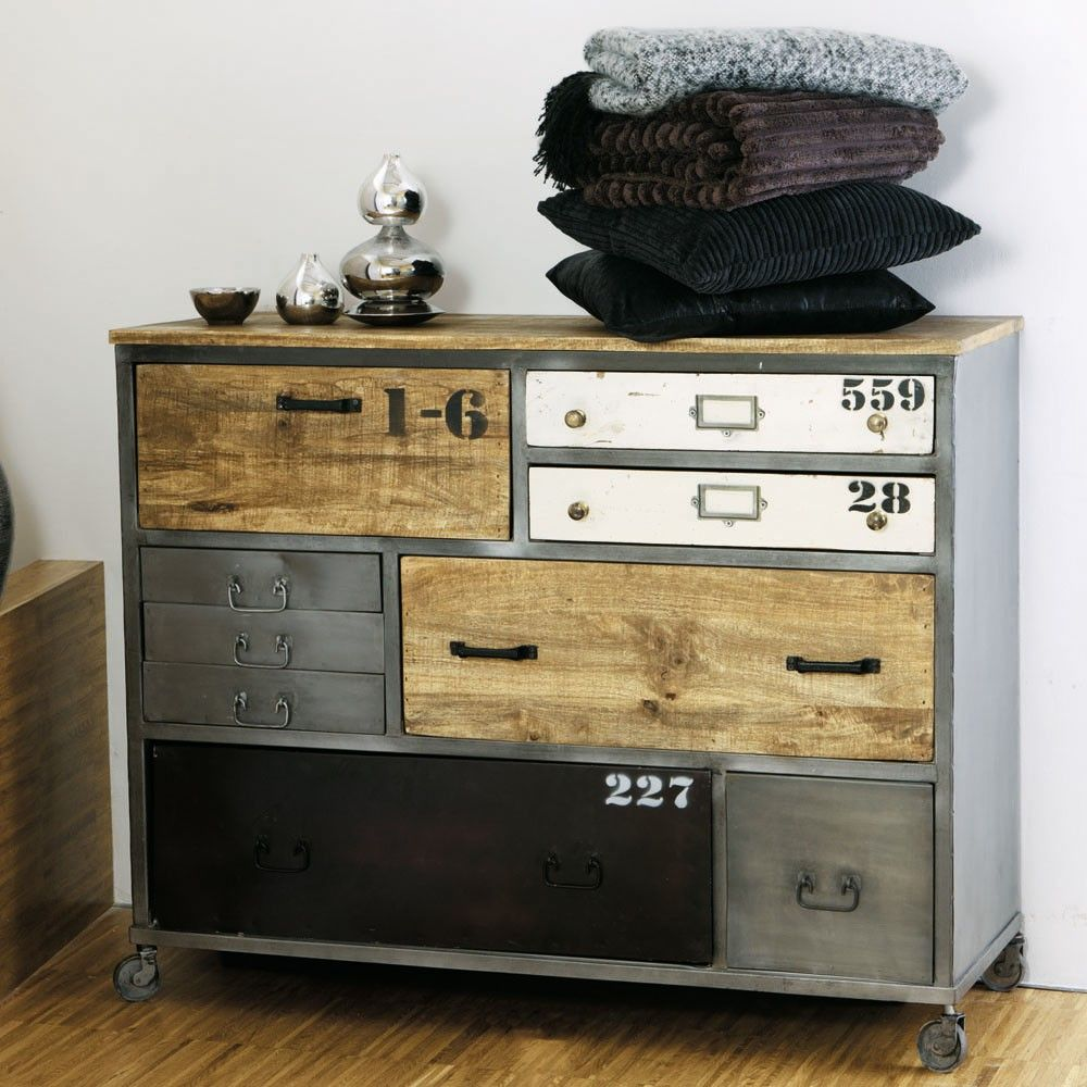 metal and mango drawer chest on castors kidsroom pinterest industrial drawers industrial. Black Bedroom Furniture Sets. Home Design Ideas