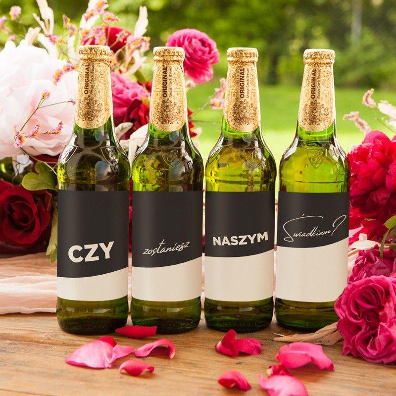 Komplet Naklejek Na Alkohol Czy Zostaniesz Naszym Swiadkiem 4szt Wine Bottle Wine Drinks