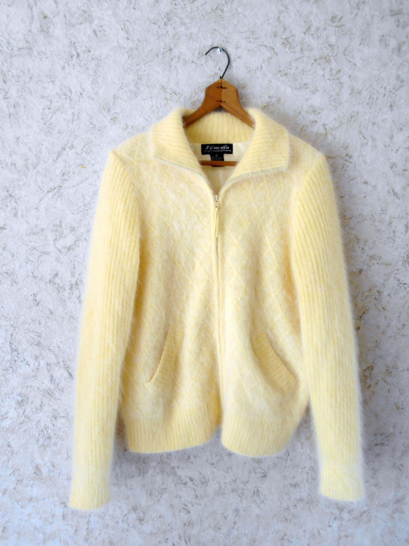 Vintage Venesha Angora Soft Pastel Yellow Sweater Zippered Jacket ...