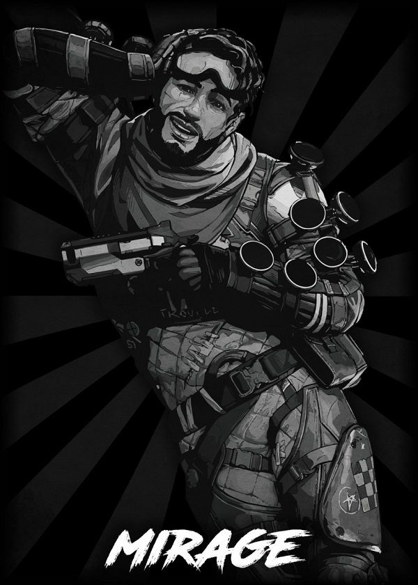 "Apex Legends B&W Radial Characters Mirage #Displate explore Pinterest""> #Displate artwork by artist ""Durro… 