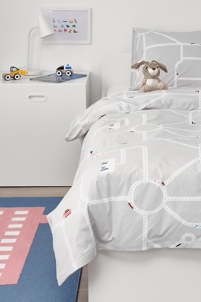 Upptag Bettwascheset 2 Teilig Auto Weg Grau Ikea Deutschland Mit Bildern Coole Betten Ikea Bett