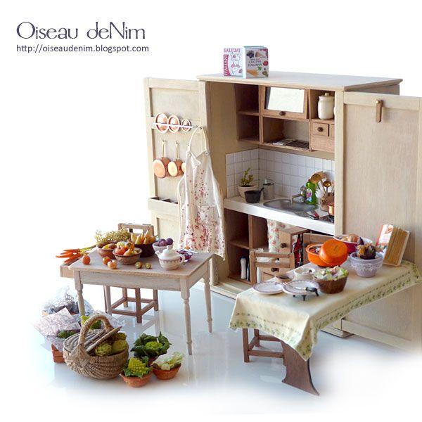 Miniature kitchen scene by Oiseau deNim #miniaturekitchen