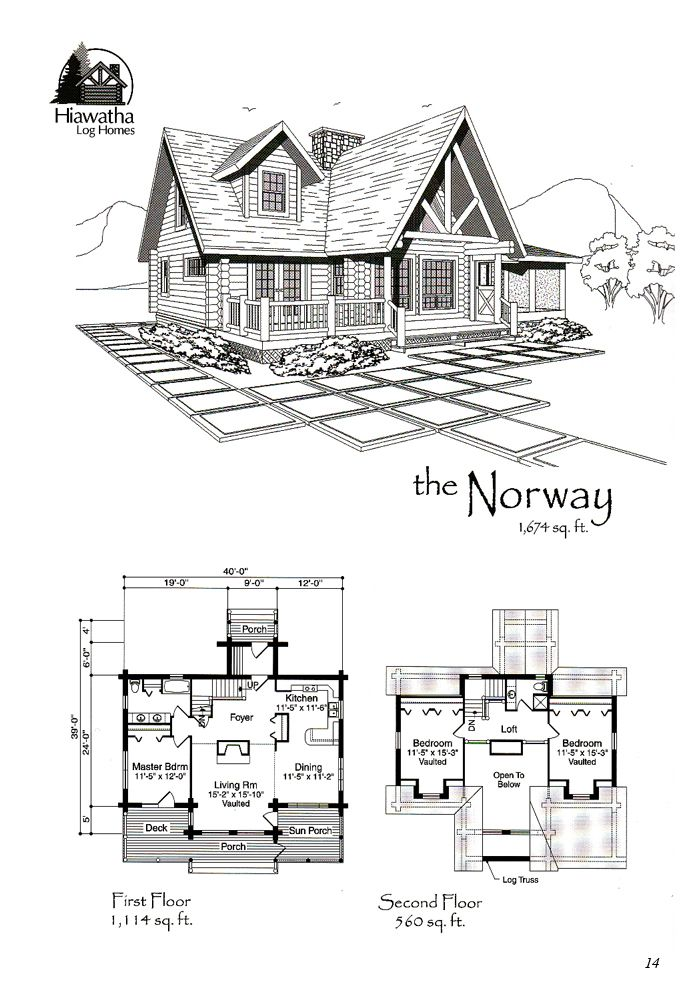 The Norway Www Hiawatha Com Lake House Plans Log Cabin Plans Log Home Floor Plans