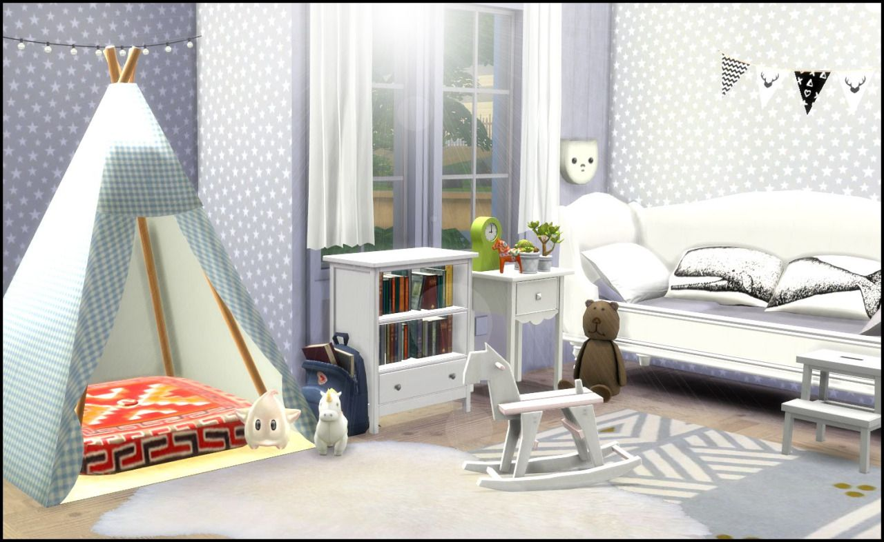scandinavian kids room cc: dresser by pilar bicycle by severinka calendar by happytobe flags/fjällräven backpack by simforadream garlands by inabadromance bed/hammy toy by dreamcatchersims4 table by...