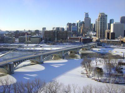 Under the Ledge: Minneapolis Skyline on a Cold Day
