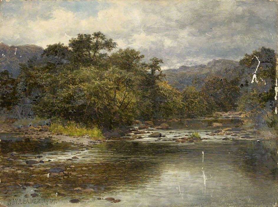 On the Llugwy River by Benjamin Williams Leader Date painted: 1907 Oil on millboard, 32.5 x 43.1 cm Collection: Bristol Museums, Galleries & Archives