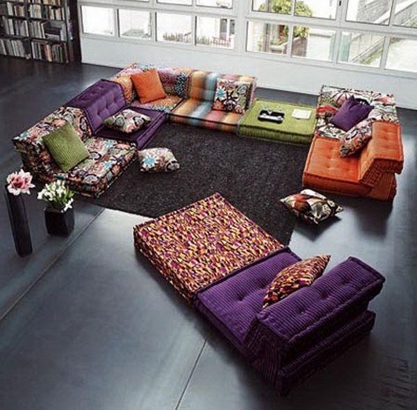 Stylische Raumgestaltung Mit Bodenkissen Innenarchitektur Wohnzimmer Bunte Mobel Wohnzimmer Design