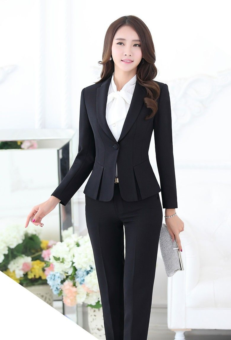 Ladies Navy Blue Blazer Women Business Suits Formal Office Suits Work Wear Pant And Jacket Set Ol Styles Suits & Sets Pant Suits
