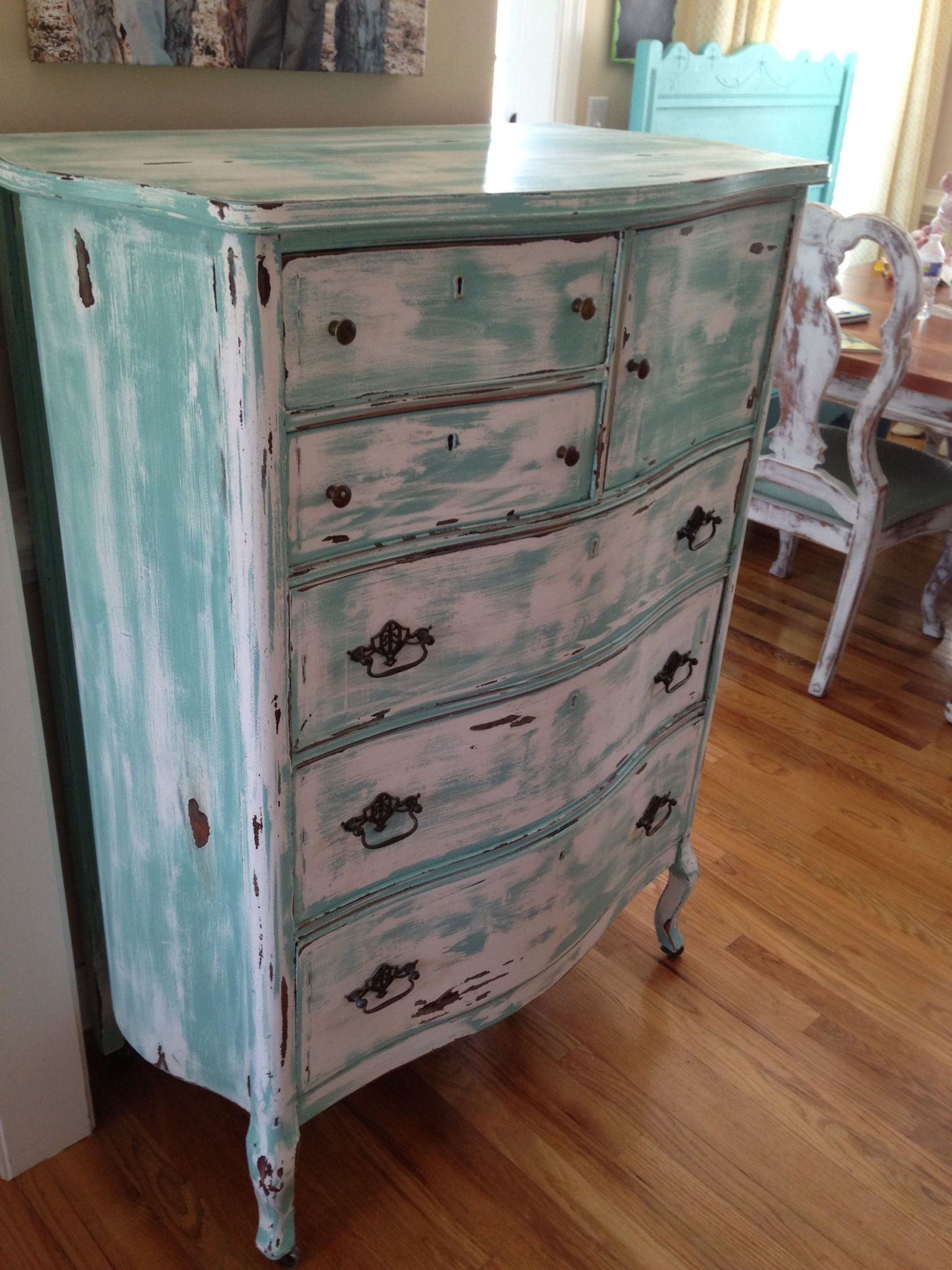 White Distressed Furniture antique chest of drawers .turquoise, white, distressed and aged