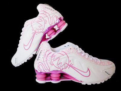 Nike Shox R4 Cartoon Womens White-Pink