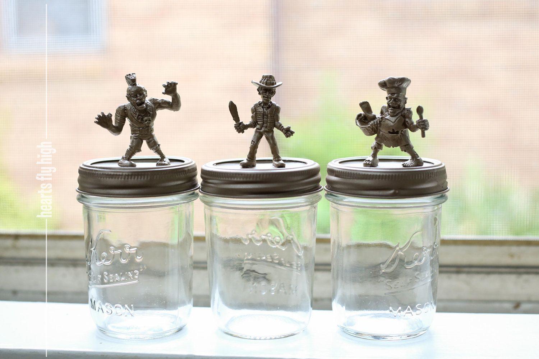 Zombie Decoration 3 Piece Metallic Halloween Zombie Figurines on Vintage Kerr Mason Jars.