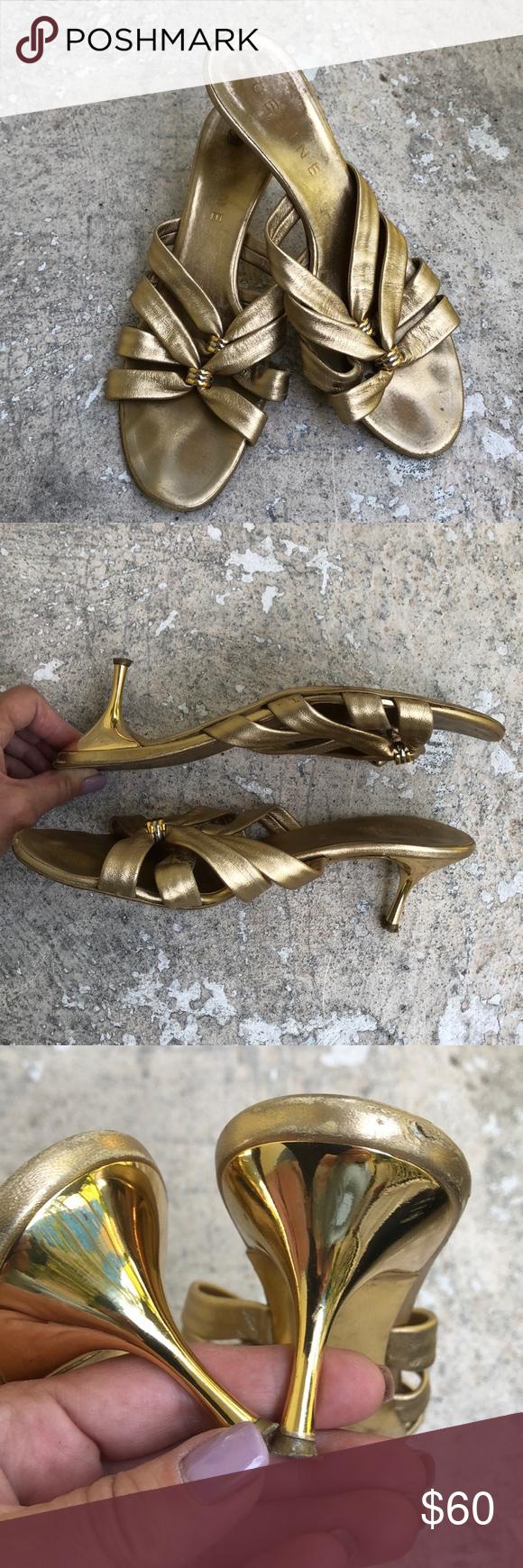 Celine Mules Gold Kitten Heels Mules Shoes Clogs Celine Shoes