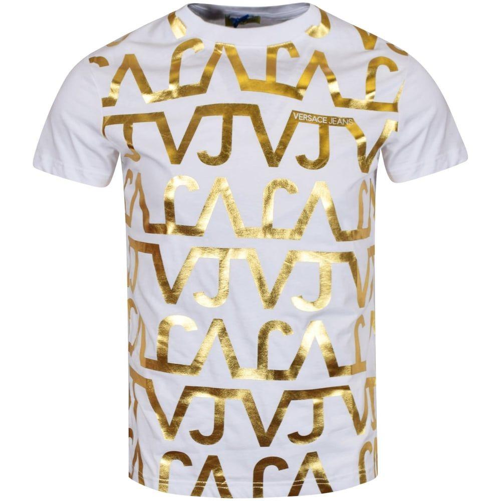 VERSACE JEANS Versace Jeans White/Gold Print T-Shirt - T-Shirts ...