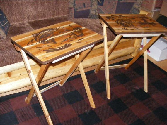 Wood TV Tray Tables Fishing Design Hand Made By BlackRiverWoodshop