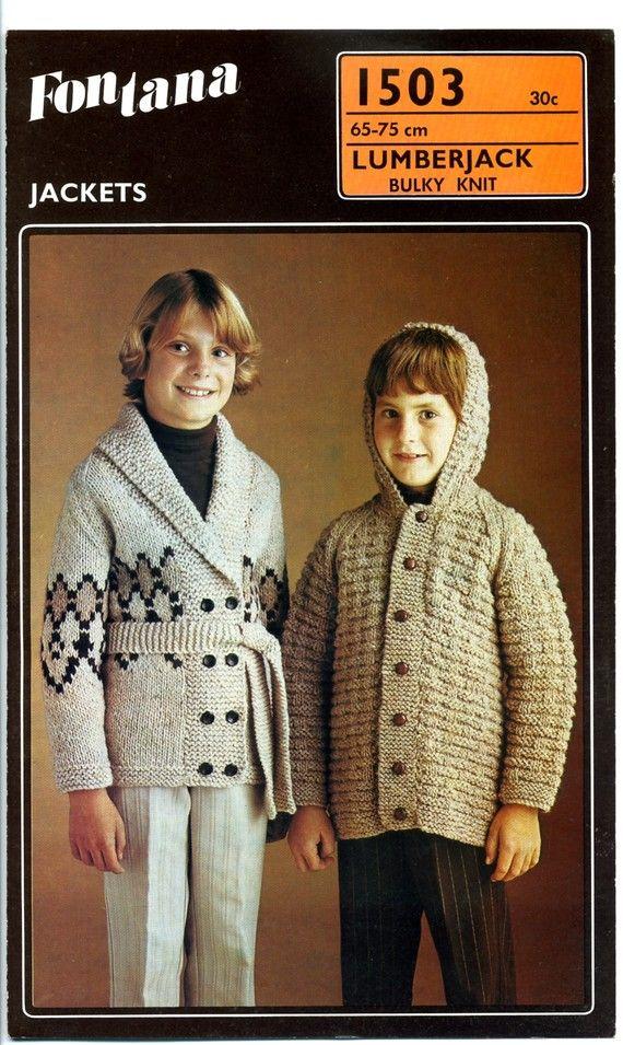 Vintage New Zealand Knitting Pattern Fontana 1503 Kids Bulky