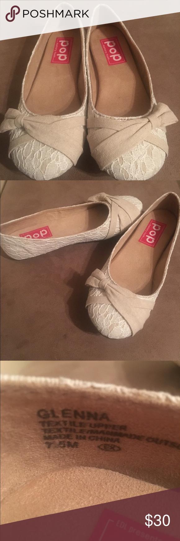Beige cream flat shoes. Pop Glenna Natural Lace flats
