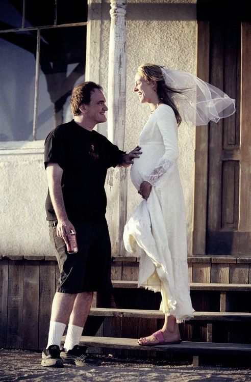 Tarentino and Thurman on the set of Kill Bill.