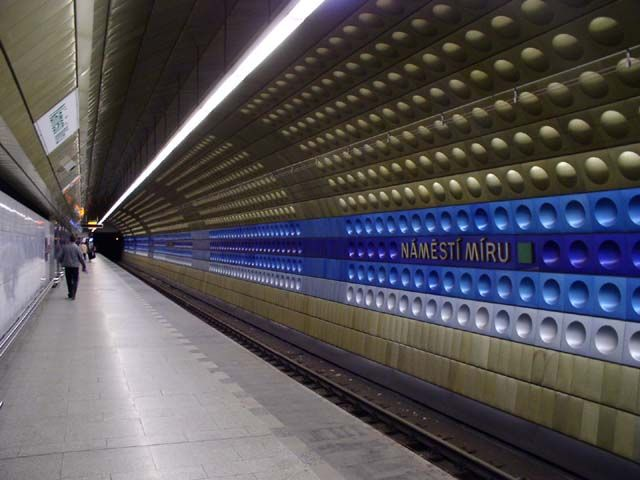 Namesti Miru Metro Station in Prague, Czech Republic