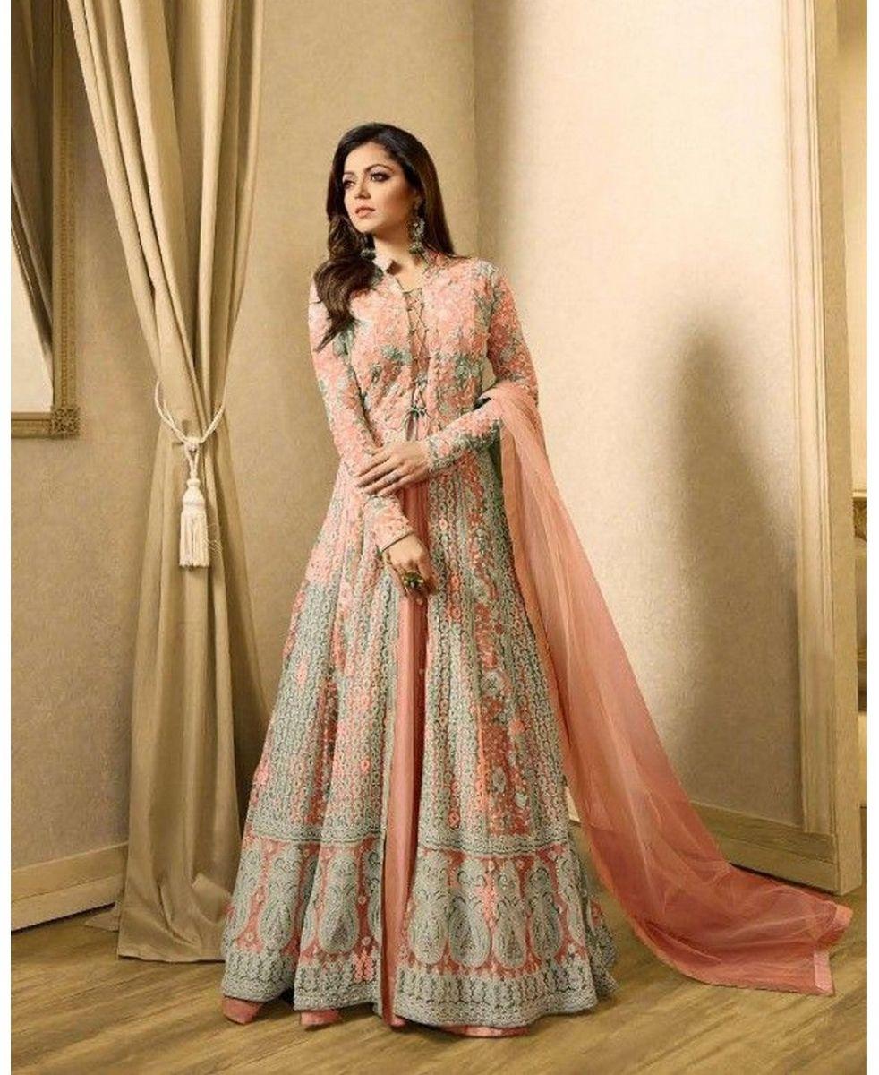 3e3f8df24f8 Buy Orange Color Heavy Net Straight Cut Suit Punjabi Fashion