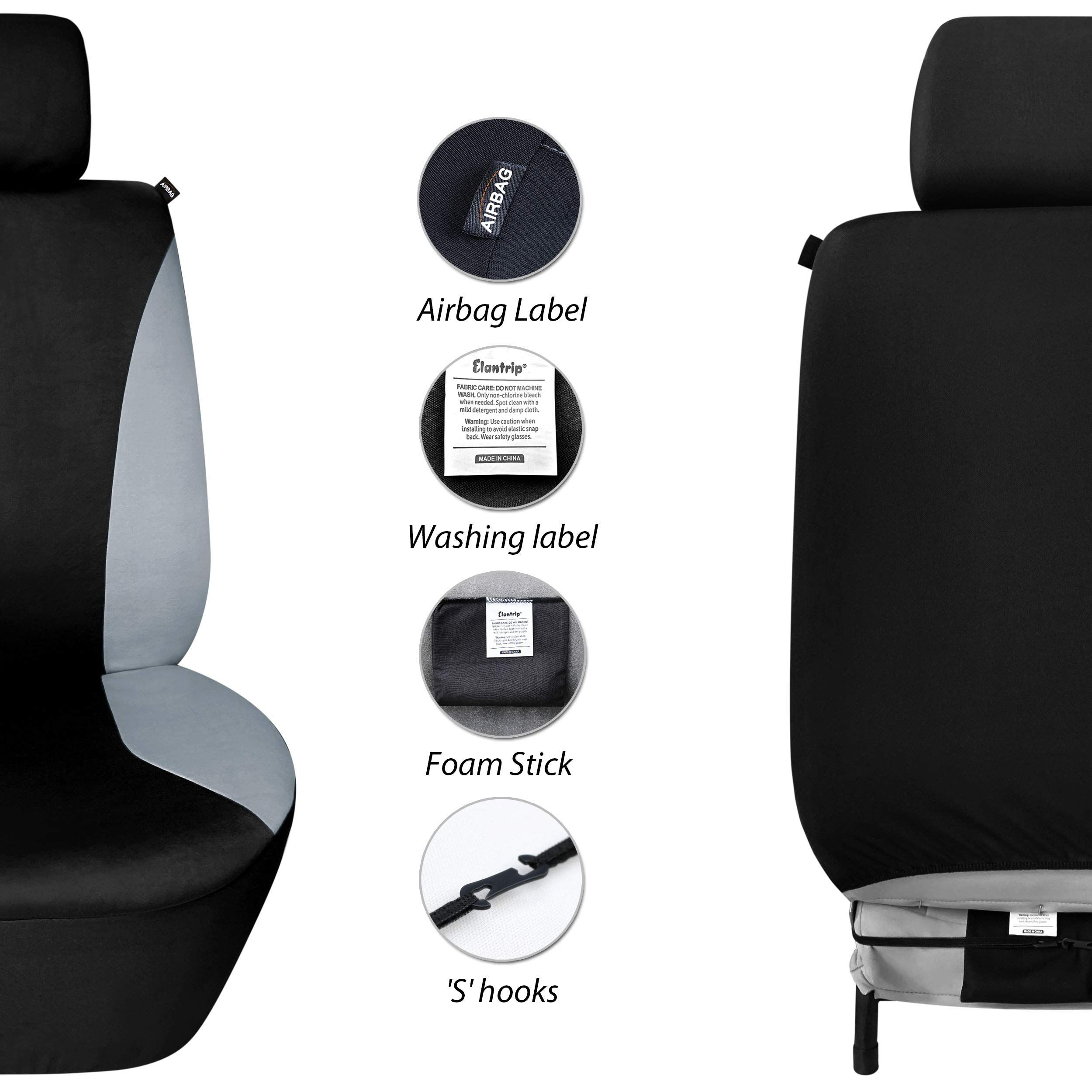 Elantrip Waterproof Front Car Seat Covers Set Universal Fit Bucket Seat Protector Airbag Compatible For Cars Suv Seat Protector Car Seat Cover Sets Seat Covers