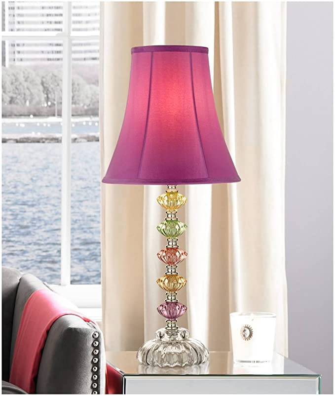 Bohemian Accent Table Lamp Stacked Colored Glass Orchid Bell Shade For Kids Room Bedroom Bedside Nightstand 360 Lighting Table Lamp Bohemian Table Lamps Lamp
