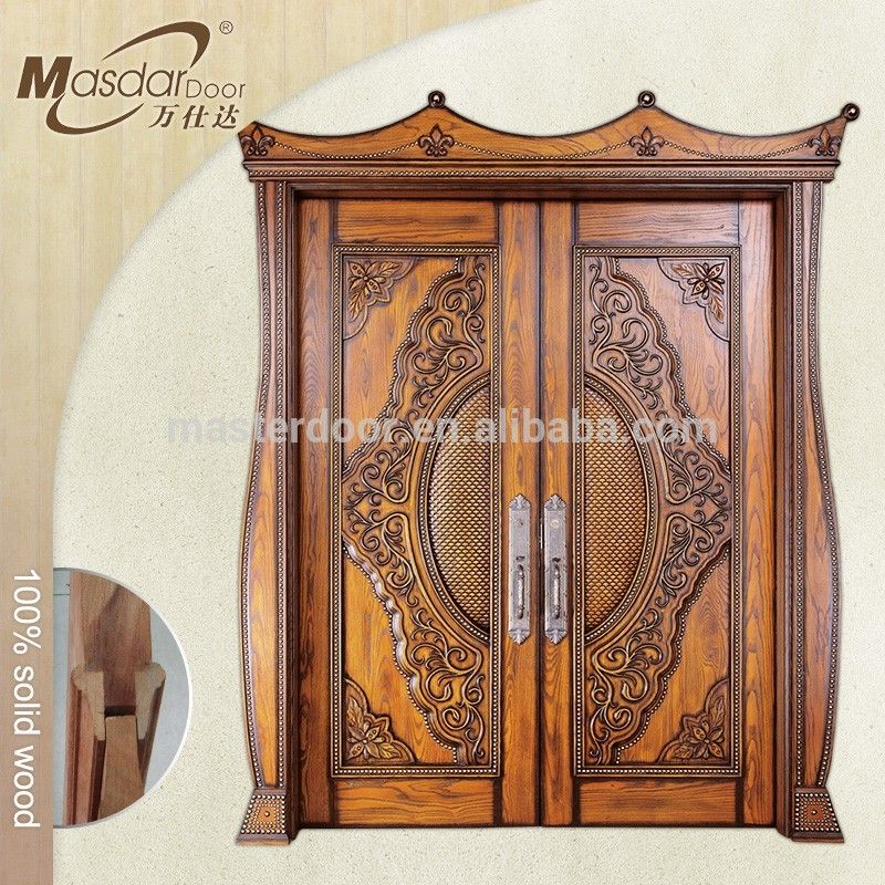 Indian House Front Safety Door Design Solid Wood Double Doors