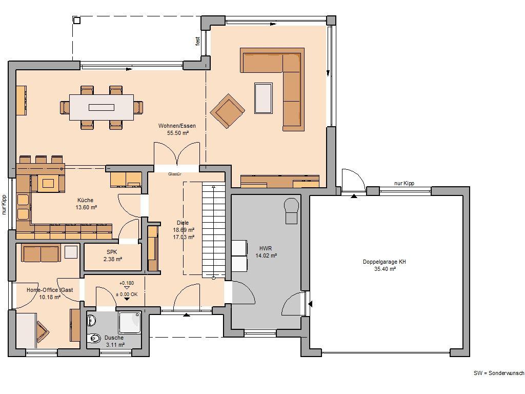 Bauhaus Grundriss 214 m² Erdgeschoss