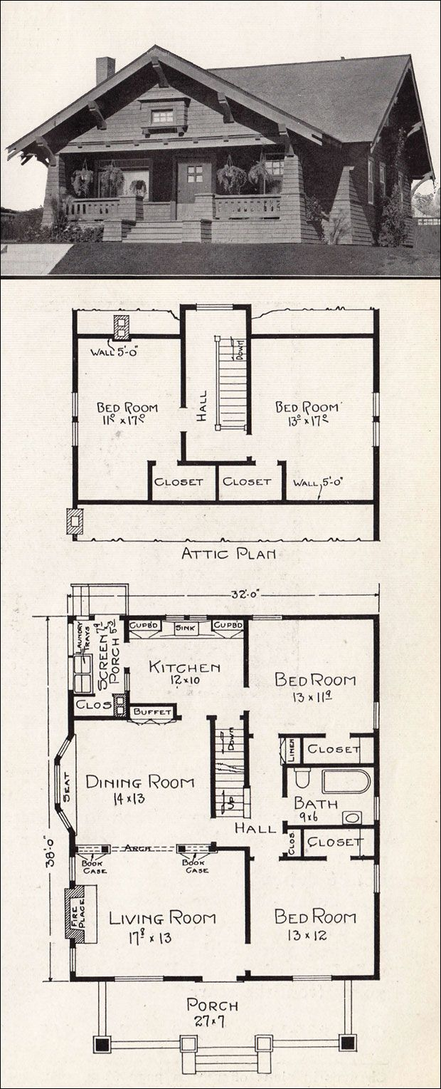 Arts and crafts bungalow house plans - Arts And Crafts Bungalow House Plans 56