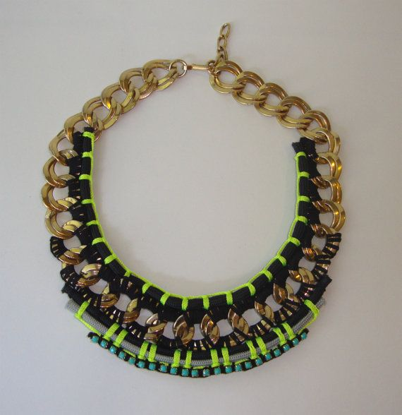 OBSESSED WITH THIS!! Vintage Chunky Gold Chain with Neon Rope and Resin by ZacariPiper, $55.00