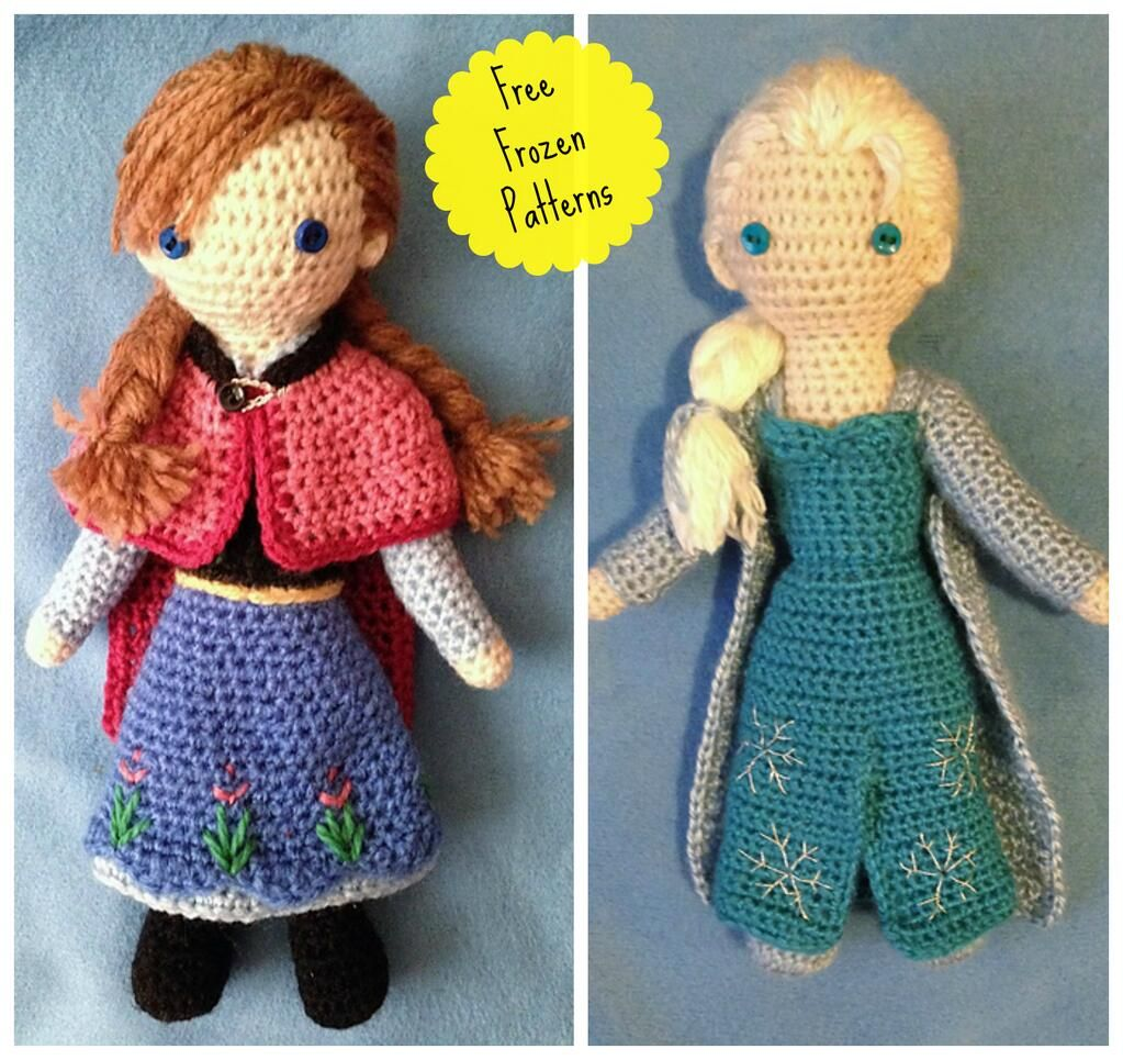 PRINCESS ANNA AND SNOW QUEEN ELSA FROM  FROZEN* TOY  KNITTING PATTERN