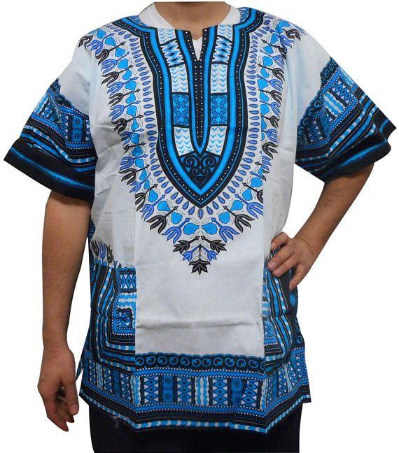 African Dashiki Mens V Neck T-shirt Hippy Ethnic Tops Casual Beach Blouse Summer