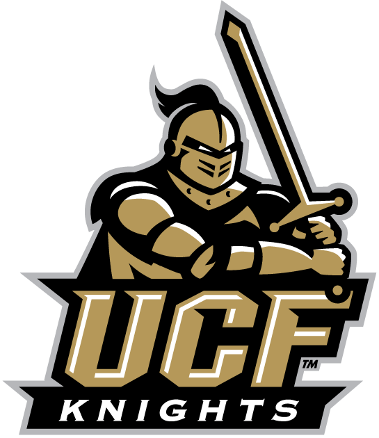 Central Florida Knights Primary Logo 2007 2011 A Gold Knight Holding A Sword Above Ucf Knight Logo Ucf Knights Knight