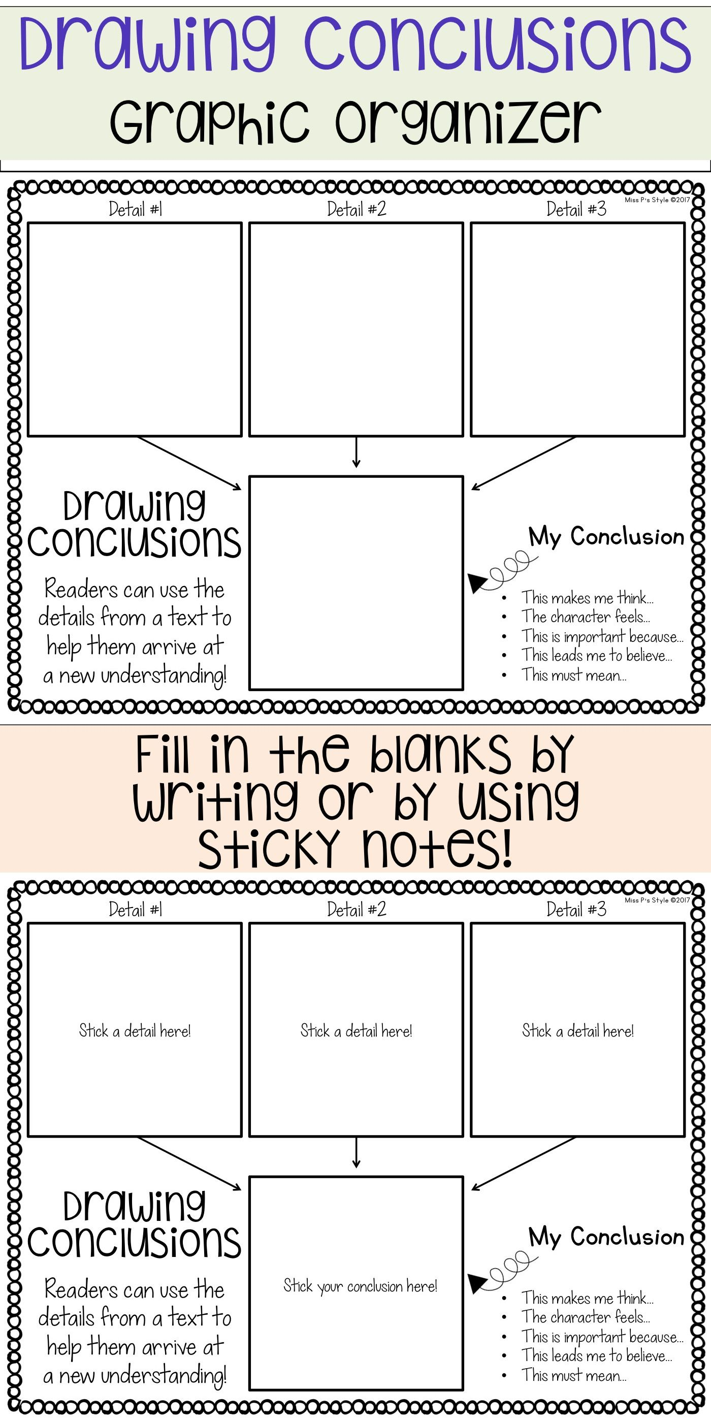 Drawing Conclusions Graphic Organizer Drawing Conclusions Reading Graphic Organizers Graphic Organizers Read write draw printables