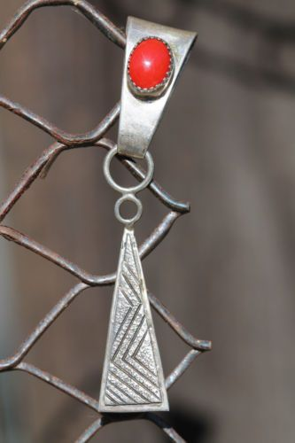 Vintage Signed Navajo Sterling Silver Red Coral Pendant Enhancer W. Johnson