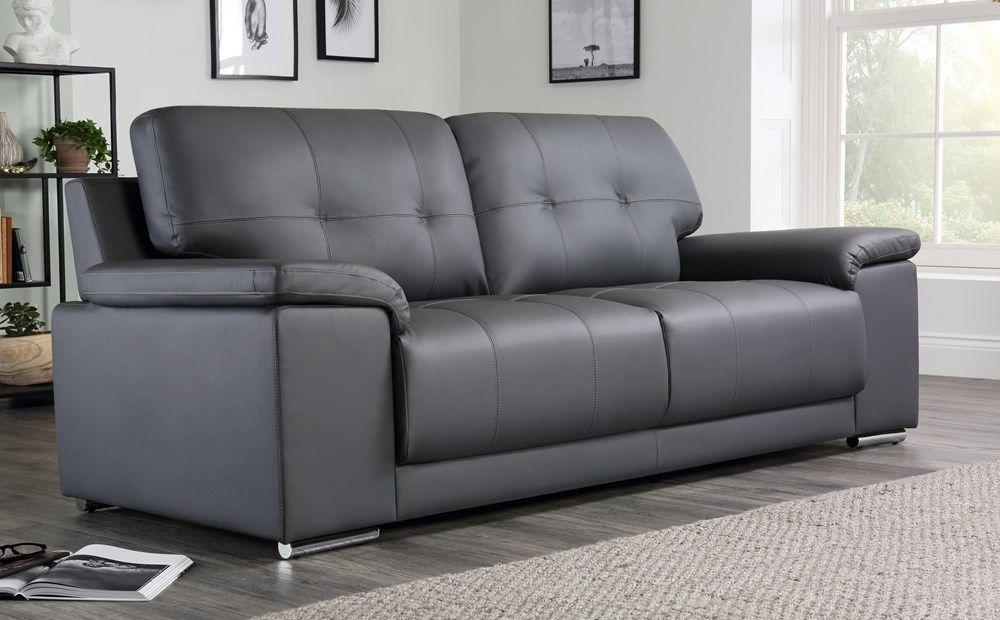 Kansas Grey Leather 3 Seater Sofa | Leather sofa living ...