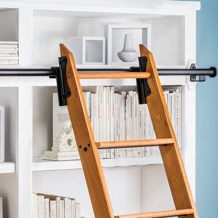 Rockler 8 Foot Classic Rolling Library Ladder Kit Hardware With 12 Feet Of Track Satin Black Library Ladder Asian Home Decor Ladder