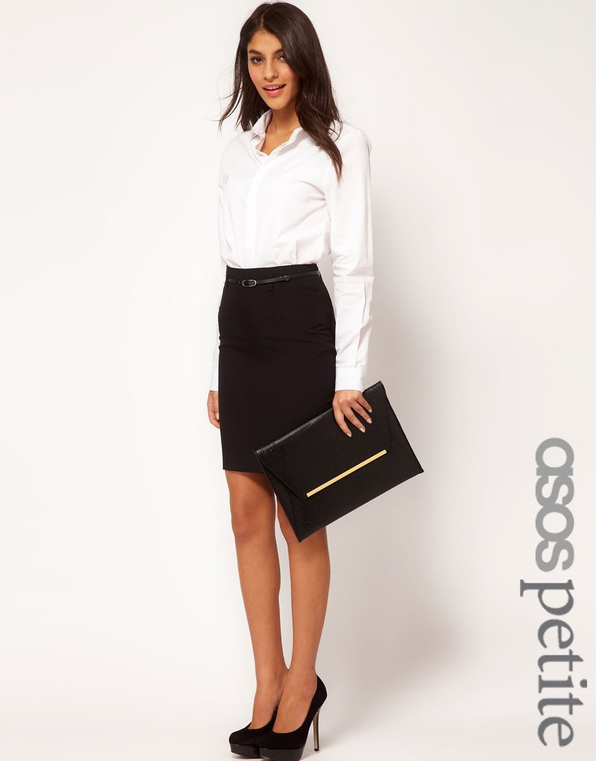 6c63f03ed Classic black pencil skirt, white button up shirt, and black heels ...