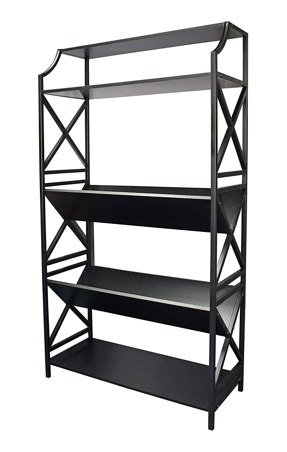 Ehemco 5 Shelf Metal Bookcase With 2 Shelves On A Slant V Shape And X Sides In 2020 Metal Bookcase Home Office Furniture Shelves