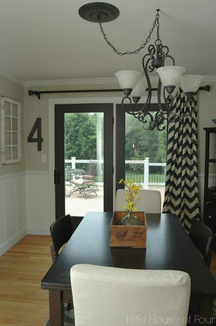 Updated Dining Room With Sherwin Williams Iron Or And Accessible Beige Sliding Door CurtainsSliding