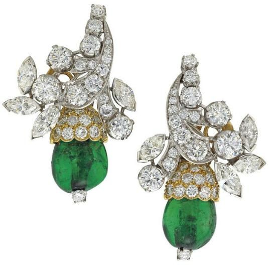 Earrings: Emerald/diamond necklace and earrings, Van Cleef and Arpels. Circa 1960's. Via Diamonds in the Library.