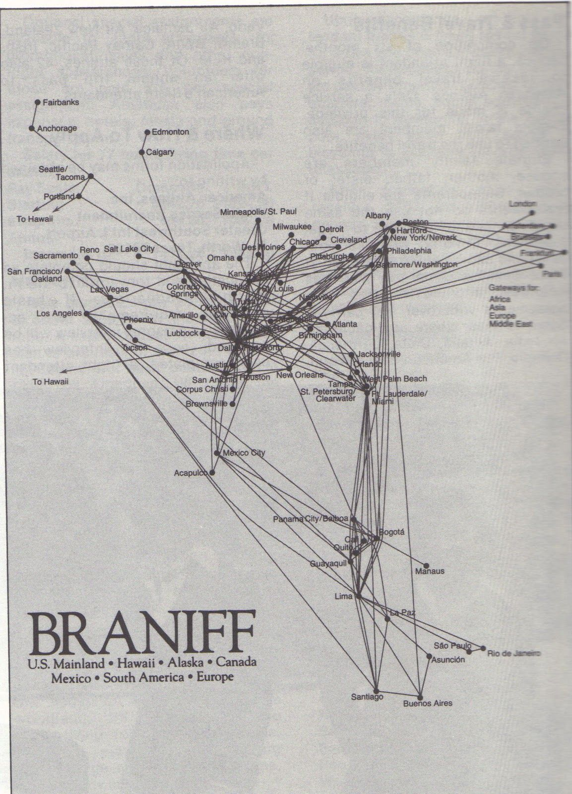 braniff Route map, Flight attendant humor, Vintage airlines