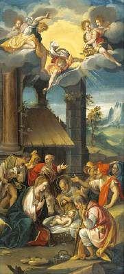 Prospero Fontana - The Adoration of the Magi oil on copper H: 53 cm (20.9 in). W: 24 cm (9.4 inches).