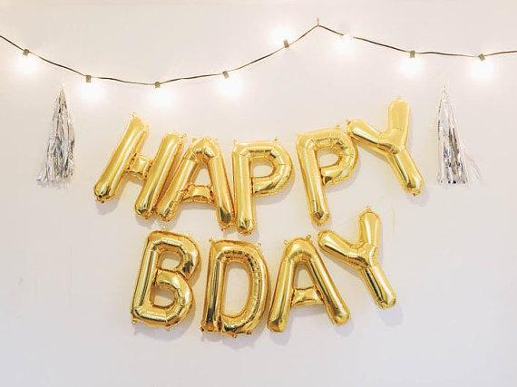 happy bday letter balloons goldsilver foil mylar letter balloons banner with tassels kit