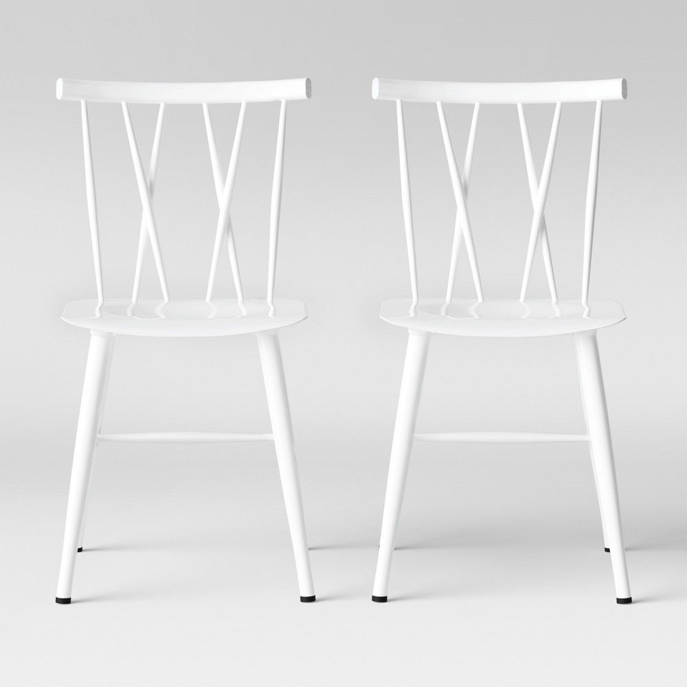 Prime Set Of 2 Becket Metal X Back Dining Chair White Project 62 Ibusinesslaw Wood Chair Design Ideas Ibusinesslaworg