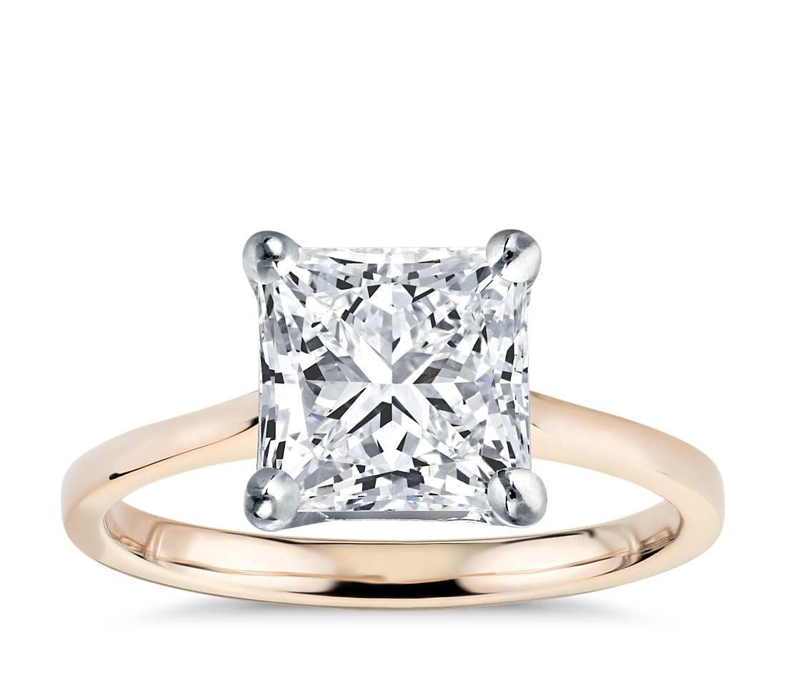 Princess cut petite cathedral solitaire engagement ring k rose