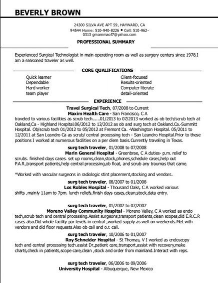 surgery tech resume sample