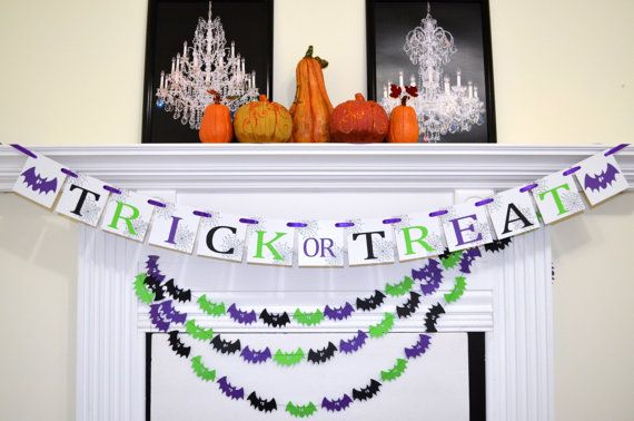 Halloween Banners garland halloween decorations, green purple - halloween decorations on pinterest
